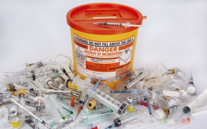 dispose needles or sharps