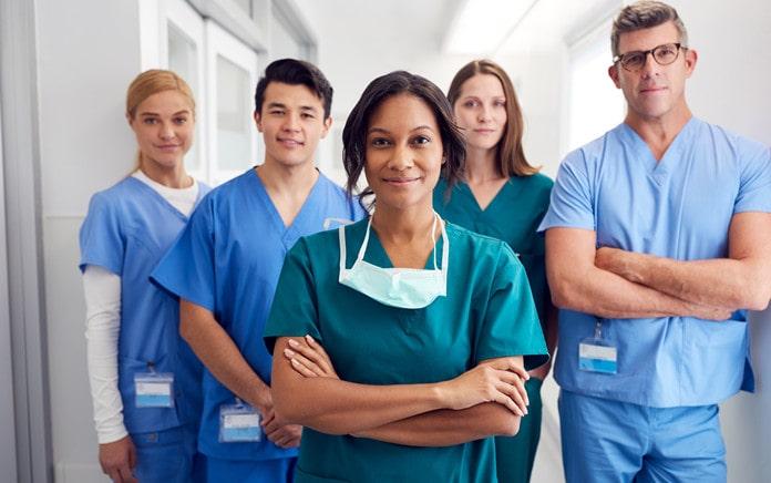 wearing medical scrubs